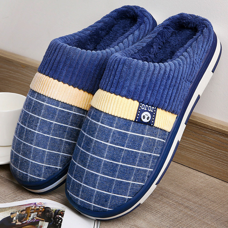 Men's Slippers Gingham Keep Warm Antiskid Plush Winter Indoor Shoes For Boys Fur Soft Home Slippers Men Bedroom Shoes Fashion