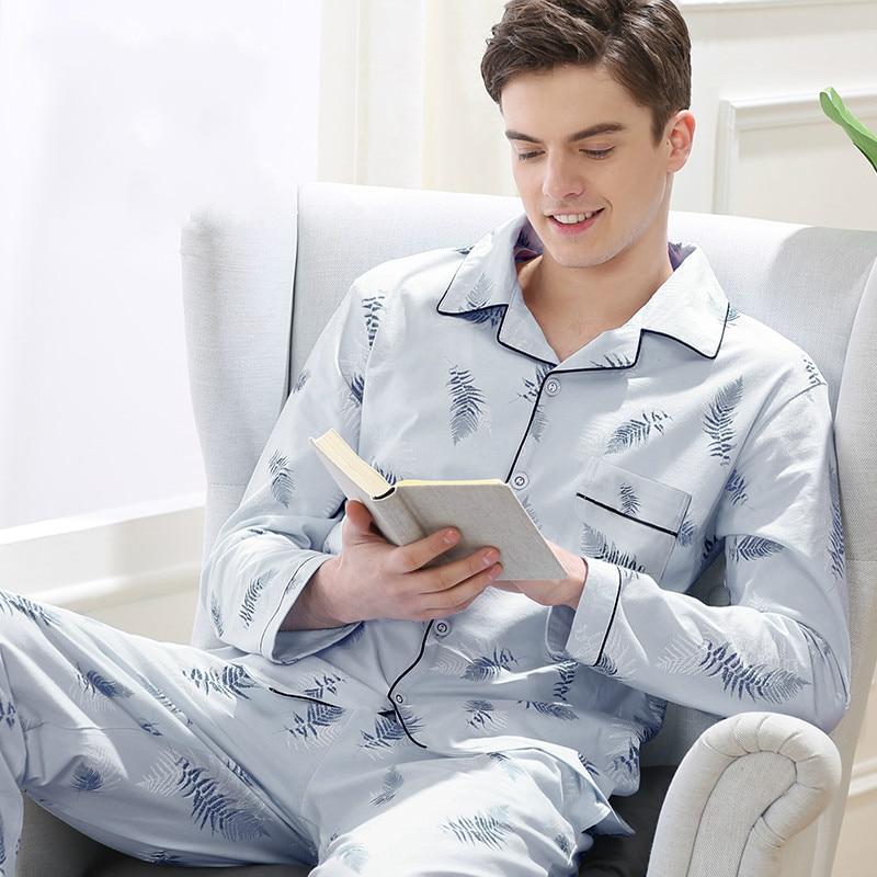 Men Pajamas Home-Wear-Suit Youth Male Nightwear Sleepwear Cotton Casual Summer Thin Autumn