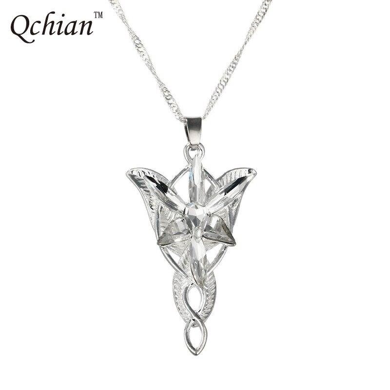 O senhor colar de arwen pingente do filme noite, joias de cristal do twilight star pingente de torque para presente para mulheres