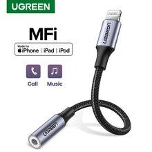 Ugreen MFi Lightning do 3.5mm słuchawki Adapter do iPhone 12 11 Pro 8 7 Aux 3.5mm kabel Jack do akcesoriów Lightning Adapter