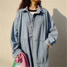 Женское джинсовое платье винтажное минималистичное Свободное