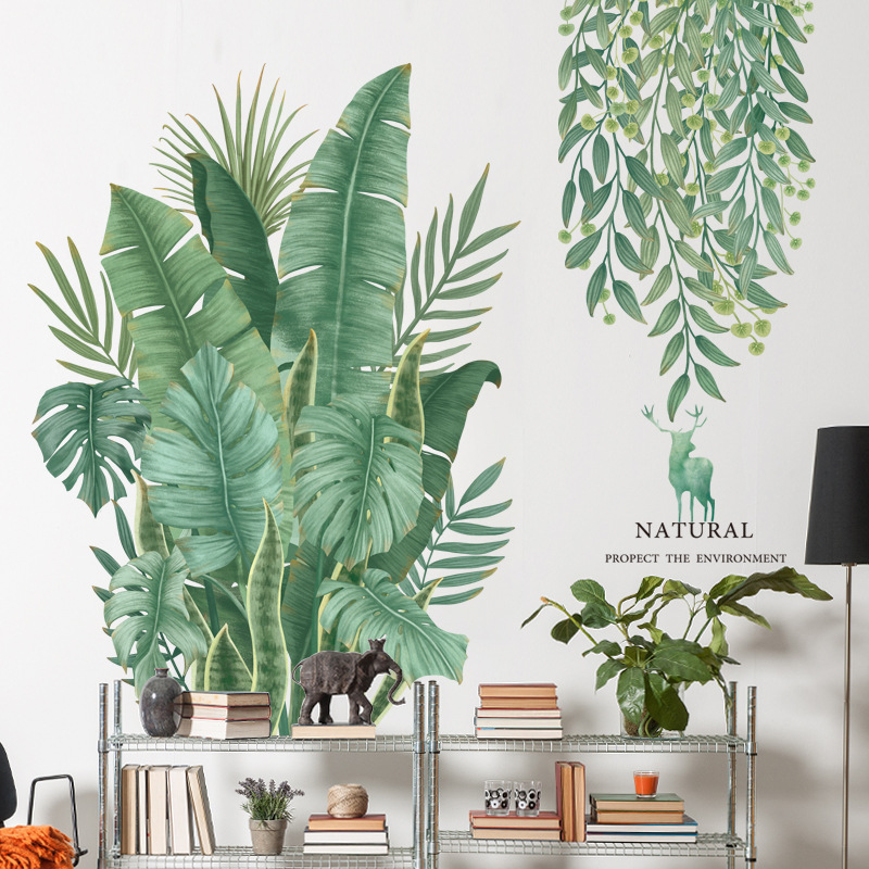 Nordic Style Banana Leaf Wall Stickers For Living Room Bedroom Dining Room Kitchen Kids Room DIY Vinyl Wall Decals Sofa Murals