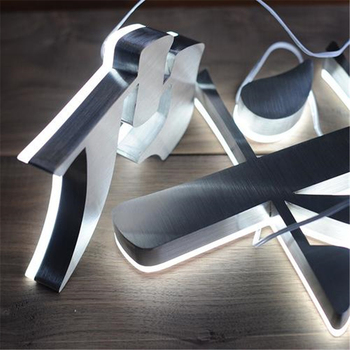 Factory Outlet metal backlit led letters signs, outdoor stainless steel halo lit letterings, back illuminated store signs