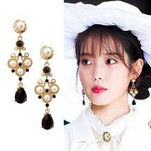 Korean Style temperament Imitation Pearls Black Water Drop Crystal Royal Baroque Clip on Earrings Non Pierced Ears For Women