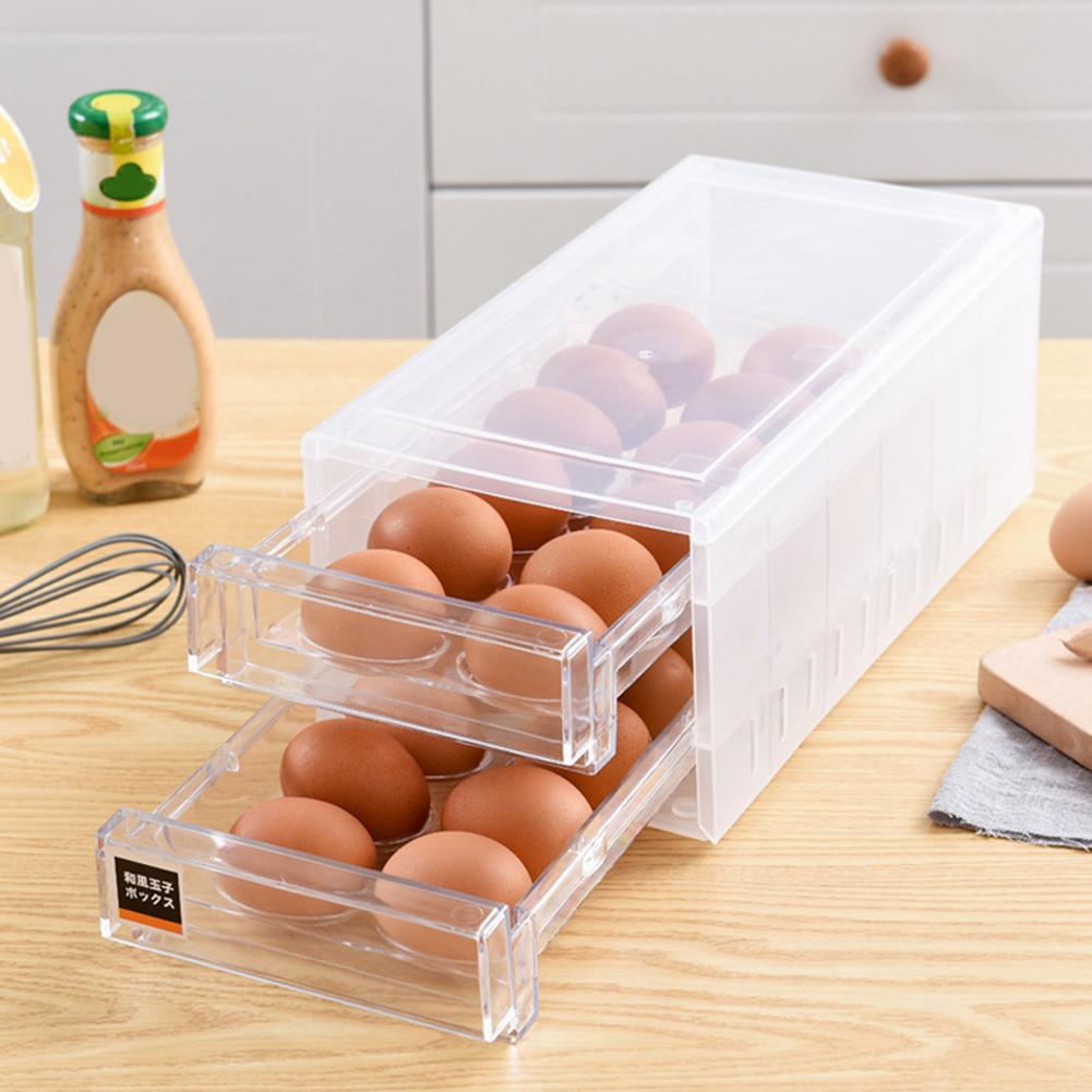24 Grid Double-Layer Egg Keep Fresh Tray Storage Box Drawer Kitchen Refrigerator Container