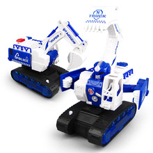 Electric universal deformation excavator engineering vehicle model light music childrens toys gifts