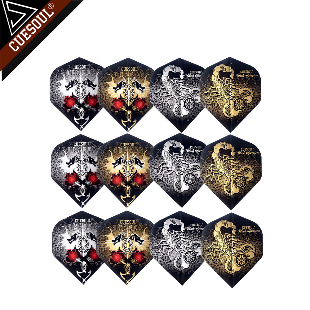 CUESOUL 12pcs 4 Styles Professional Dart Flights For Soft Tip Darts And Steel Tip Darts With Very Good Quality