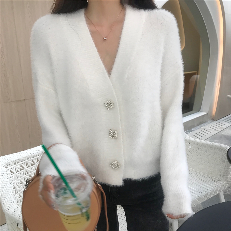 FMFSSOM Women Autumn Diamonds Button Wool Knitted Sweater Ladys Long Sleeve Knitted Cardigan Female Single Breasted Sweaters