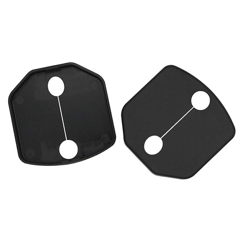 Door Lock Buckle Cover Protector For Ford Mustang Car Door Lock Cap Frame Trim Decoration 2015 2016 2017 2018 (ABS Plastic Black