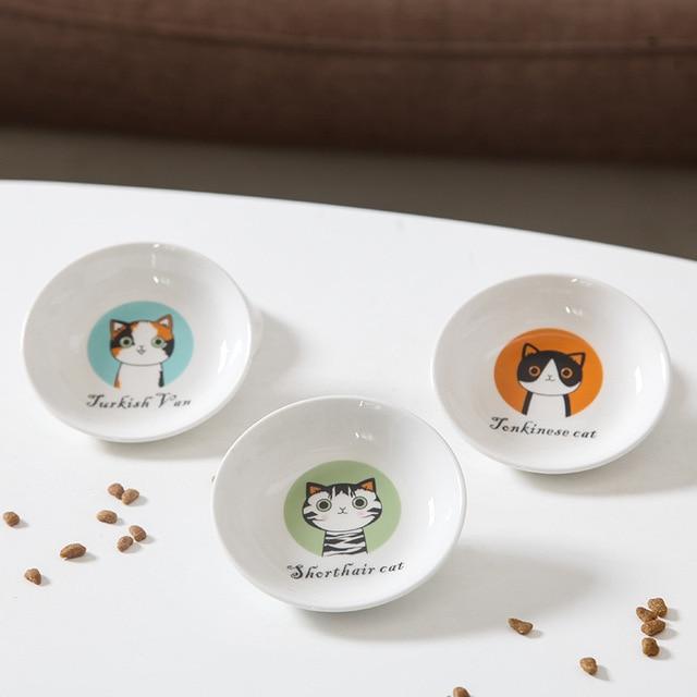 Creative Cute Cat Small Saucer Shape Mini Plate Ceramics Cartoon Dish Creative Snack Plate Chinchilla Squirrel Hedgehog Bowl  My Pet World Store