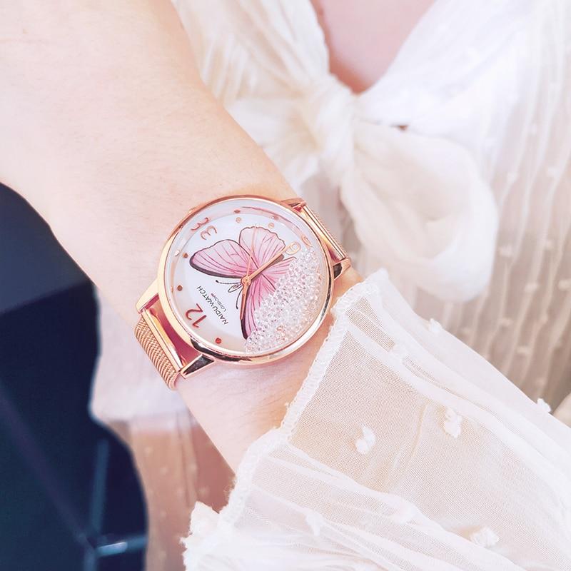 Rose Gold Women Watch 2019 Butterfly Luxury Diamond Ladies Wrist Watch Steel Mesh Bracelet Female Clock relogio feminino