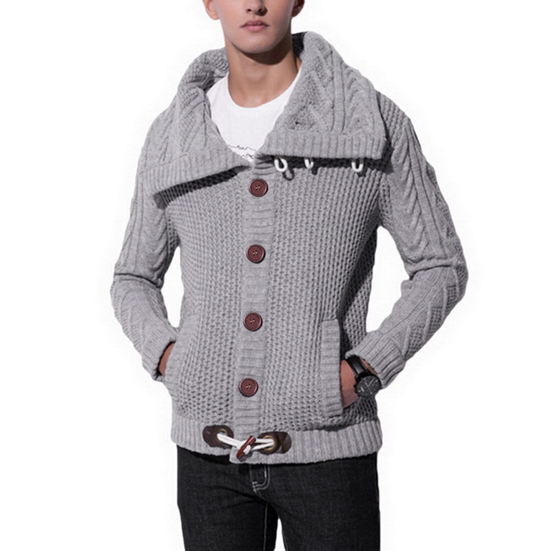 DIHOPE Men's Knit Sweater Thick Wool Turtleneck Long Sleeve Jacket Cardigan With Horn Button Men's Sweater Jacket 2019