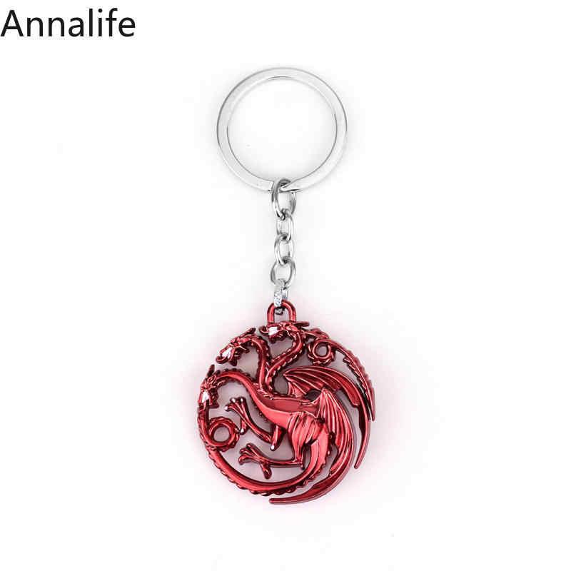 2019 Baru Panas Permainan Thrones Gantungan Kunci Set Rumah Stark Serigala Kepala Seri Kunci Targaryen Naga Alloy Liontin Perhiasan Pria