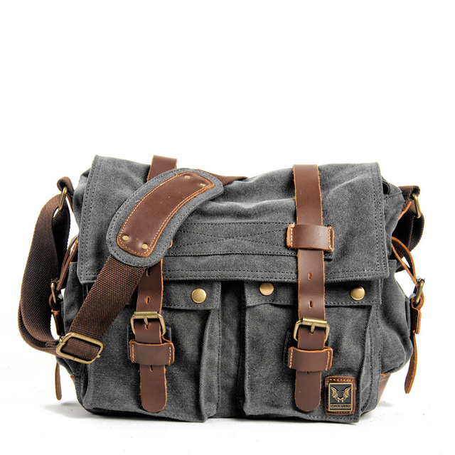 Płótno skóra opłata pocztowa torba pojedynczy torba na ramię torba na ramię, wojskowy podróży kobiet student, chłopiec, dziewczyna,, 14 cal torba na laptopa,