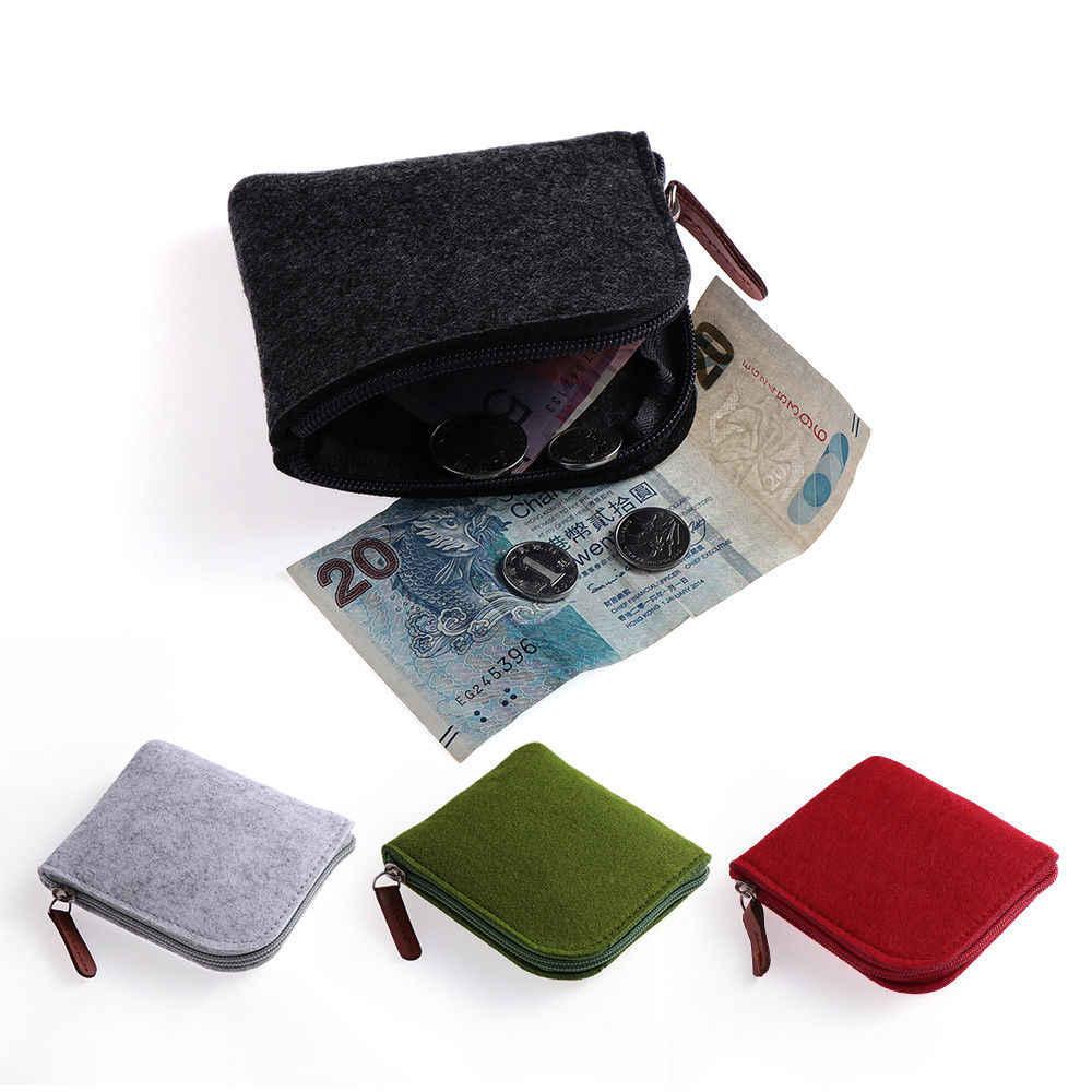 Mini Fühlte Geldbörse Frauen Männer Karte Halter Brieftasche Kleinen Schlüssel Leder Zipper Ändern Geld Tasche Kurze Tragbare Platz Clutch