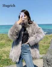 Женское зимнее меховое пальто средней длины со встроенной подкладкой