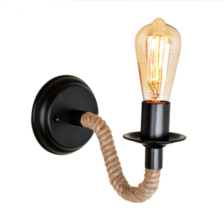 American country industrial wind bar cafe hemp rope iron led wall lamp aisle led wall lamp bedside lamp wy120701|Wall Lamps| |  - title=