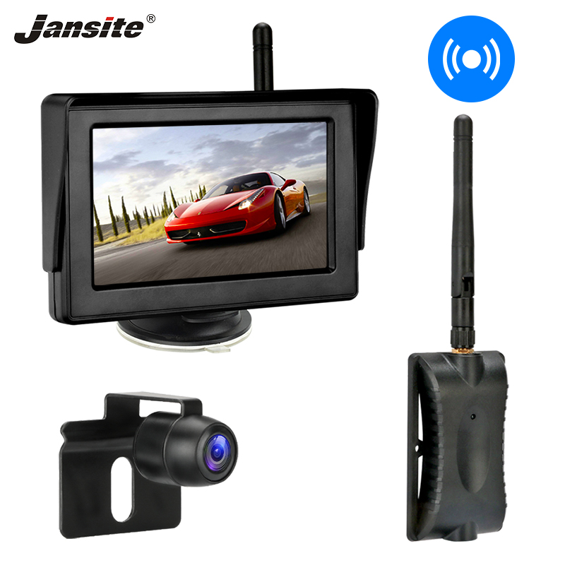 Jansite Reverse Camera Wireless 4.3'' Car Monitor Rear View Backup Camera Night Vision For RV Pickup Minivan Parking Assistance