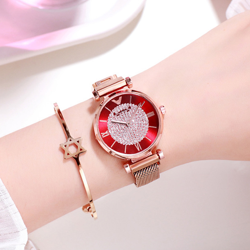 Luxury Women Watches For Women Brand Purple Dress Watch Ladies Luxury Crystal Dress Quartz Wristwatches Magnetic Clock xfcs 2019 in Women 39 s Watches from Watches