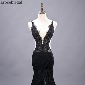 Image 3 - Erosebridal Sexy See Through Mermaid Prom Dress Long Black Lace Evening Dress Deep V Neck Open Back Front Split Formal Dress
