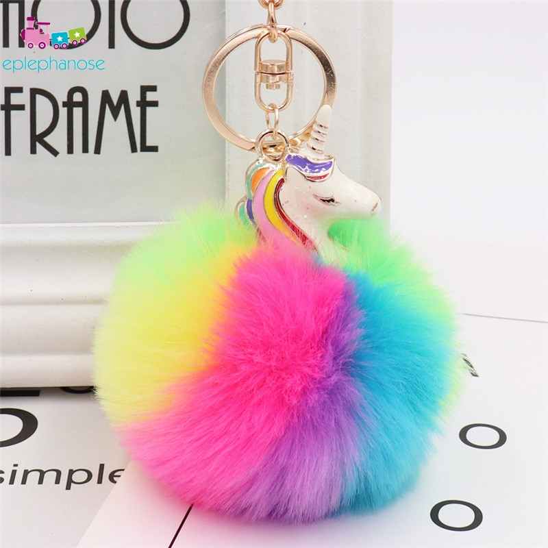 Anime Unicorn Rainbow Plush Toy Keychain Key Pendant For Women Stuffed Animals Horse Toys Girl Bag Car Mini Doll Faux Rabbit Fur