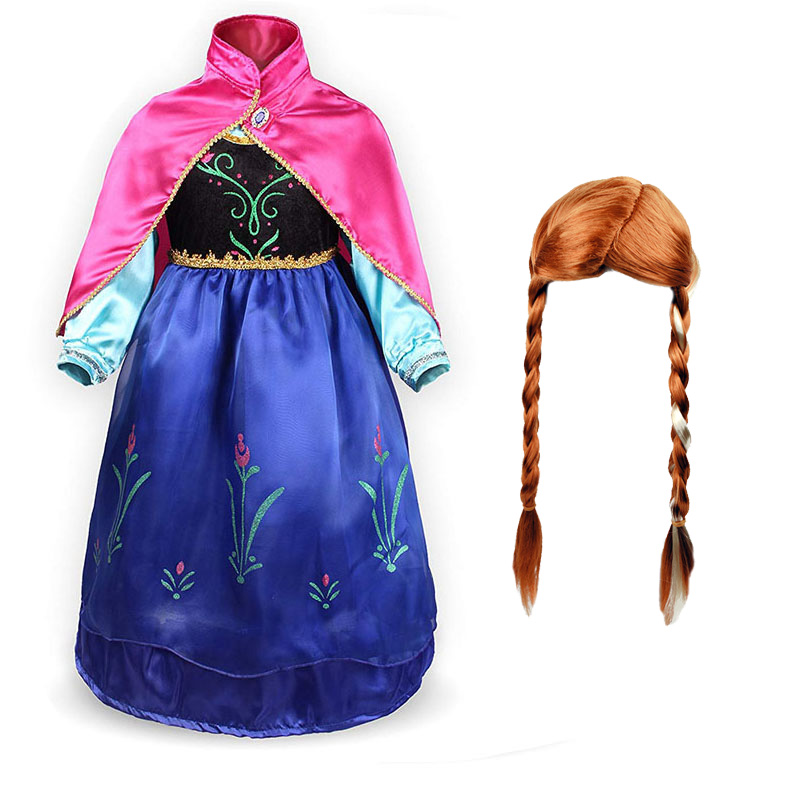 Kids Dress For Gilrs Cosplay The Snow Queen Princess Anna Costume And Wig Accessories Children Christmas Carnival Party Clothes