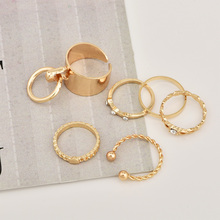 Gold Color Crystal Punk Ring Set for Women Hollow Geometric Ring Twist Knuckle Fashion Anel Rings Jewelry 6pcs/set 4 pcs set boho ring set 2019 fashion jewelry hollow compass rhinestone shell wedding ring set punk gold knuckle rings party gift