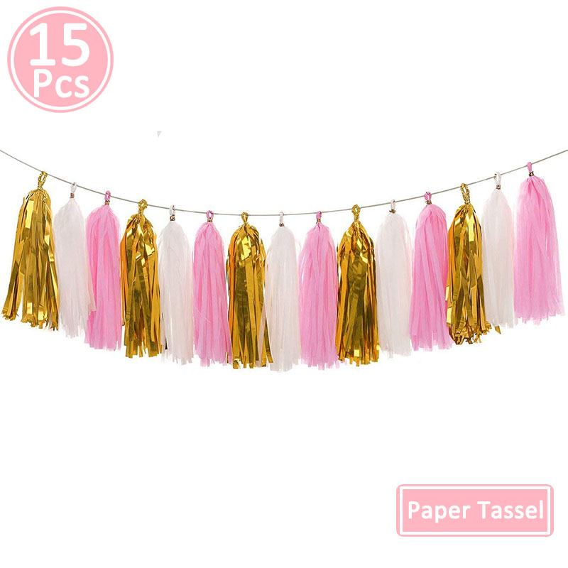 Image 3 - 15pcs Paper Tassel Kids Birthday Party Supplies Table Decoration Unicorn Baby Boy Girl Adult Frozen Princess Parties Decorations-in Disposable Party Tableware from Home & Garden