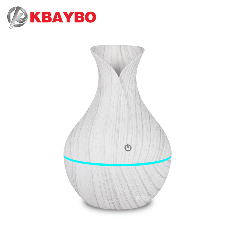 KBAYBO 130ml USB mini  electric humidifier aroma diffuser ultrasonic wood grain air humidifier with 7 color LED light for home|Humidifiers| |  - title=