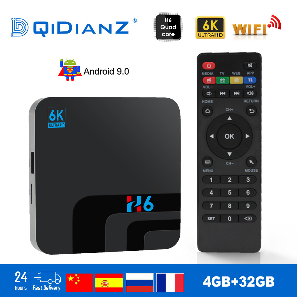 H6 TV BOX Smart 6K Ultra HD 4+32G Android 9.0 Movie TV Receiver WIFI Google Cast Netflix Media Player IPTV Set-top Box H6