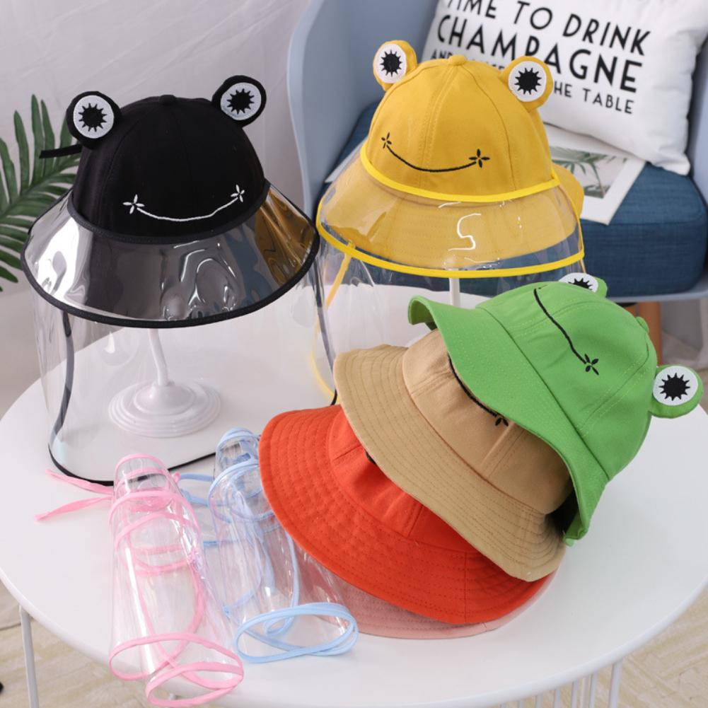 Kids Cartoon Frog Removable Anti-Droplet Full Face Cover Protect Bucket Hat Cap Safe disinfection protection against viruses(China)