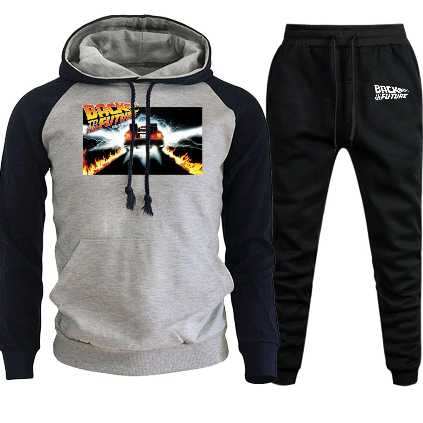 Back To The Future 2 Autumn Winter New Hoodies+Pants 2 Piece Set Funny Streetwear Men Raglan Casual Fleece Suit Male Sweatshirts