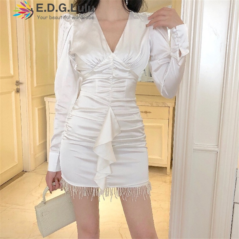 EDGLuLu white <font><b>dresses</b></font> for women 2019 elegant vintage v-neck long sleeves ruched tassel beading mini satin <font><b>dress</b></font> image