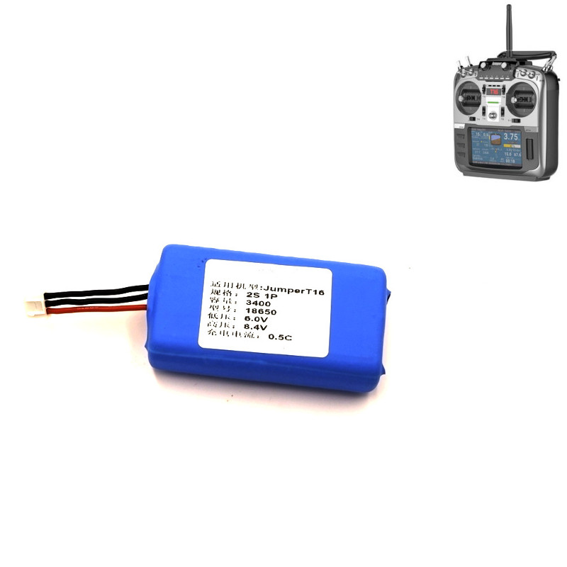 2PCS 2S 7.4V 18650 2000mAh 3400mAh 18650 Lipo Battery For Jumper T16 Multi-protocol Radio Transmitter Remote Controller