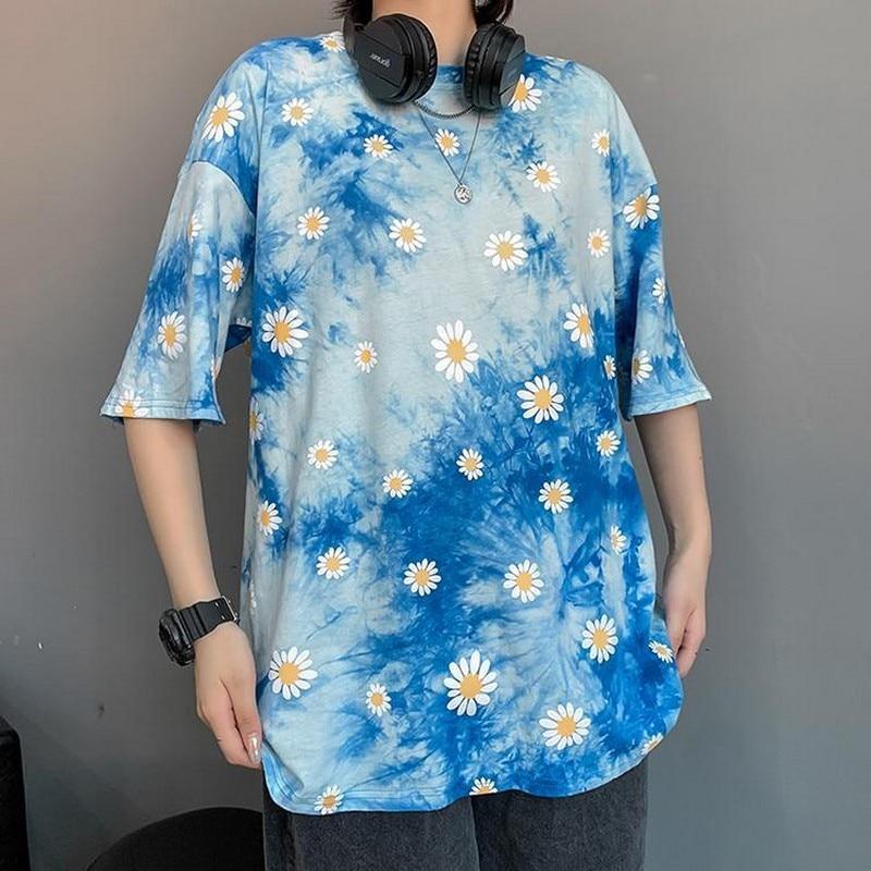 NiceMix Summer T Shirt Women Cotton T-shirt O-Neck Short Sleeve Female Tee Loose Floral Printing T-Shirt Solid Lady Tshirt Tops