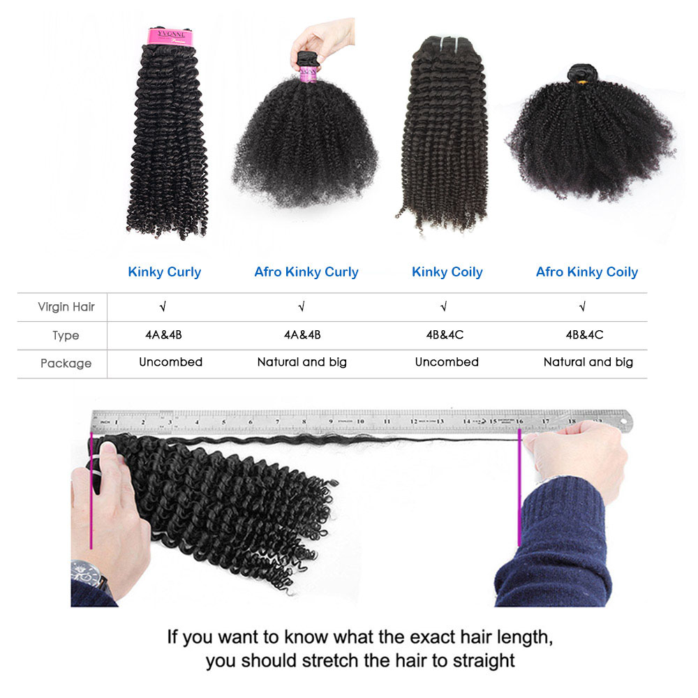 Image 5 - YVONNE Kinky Curly Virgin Brazilian Hair Weave 4A 4B Unprocessed Human Hair Bundles Natural Color-in Hair Weaves from Hair Extensions & Wigs