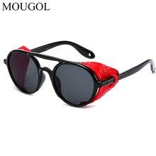 MOUGOL 2019 Fashion Men Steampunk Metal Gothic Goggles Sunglasses Women Retro Leather With Side Shades Round Sun glasses