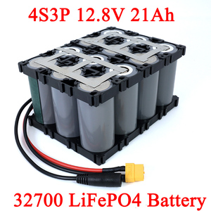 32700 Lifepo4 Battery Pack 4S3P 12.8V 21Ah with 4S 20A Maximum 60A Balanced BMS for Electric Boat Uninterrupted Power Supply 12V