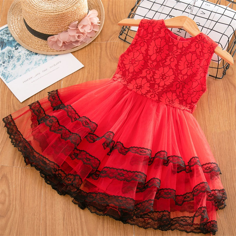 H7be065ff37ed46cfb72ce5dc91736326g Girls Dress 2019 New Summer Brand Girls Clothes Lace And Ball Design Baby Girls Dress Party Dress For 3-8 Years Infant Dresses