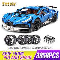 MOC Technic Voiture série Supercar Bugattis modèle La Voiture Noire blocs de construction briques ensembles enfants jouets Compatible legoing 42083