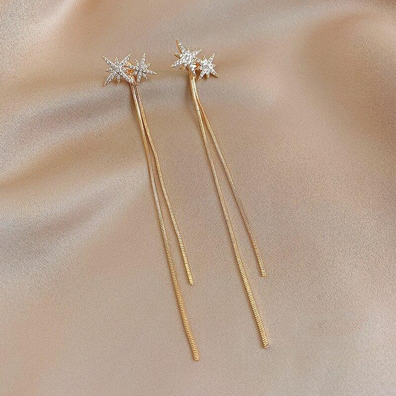 Mode femmes Swing boucles doreilles étoile caoutchouc chaîne boucles doreilles mode femmes long pendentif femmes simple bijoux cadeau 2021