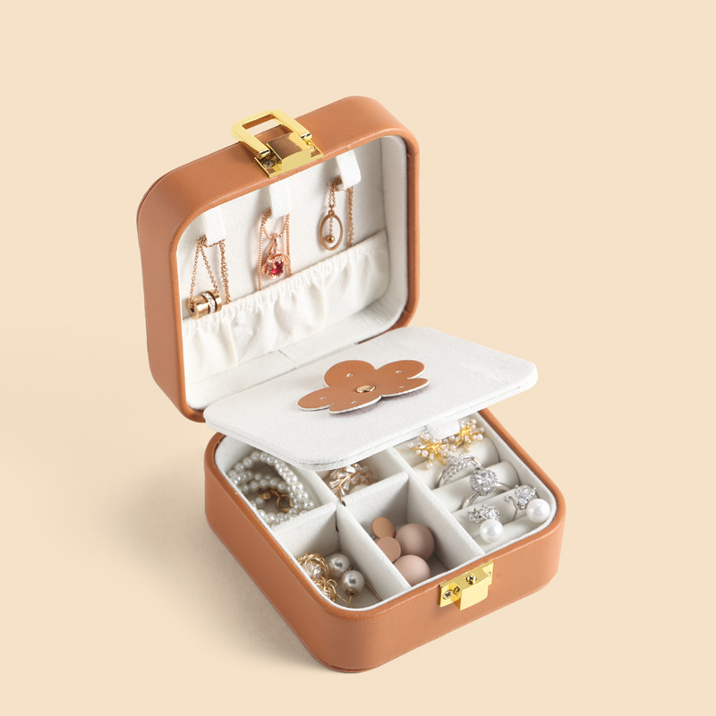 Casegrace PU Leather Small  Jewelry Box Organizer Small Earring Necklace Ring Storage Casket Travel Portable  Jewellery Case