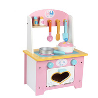Baby Pink Love Hearth Wooden Simulation Kitchen Tableware Girl Children Pretend Play Toy Kitchen Set for Kids
