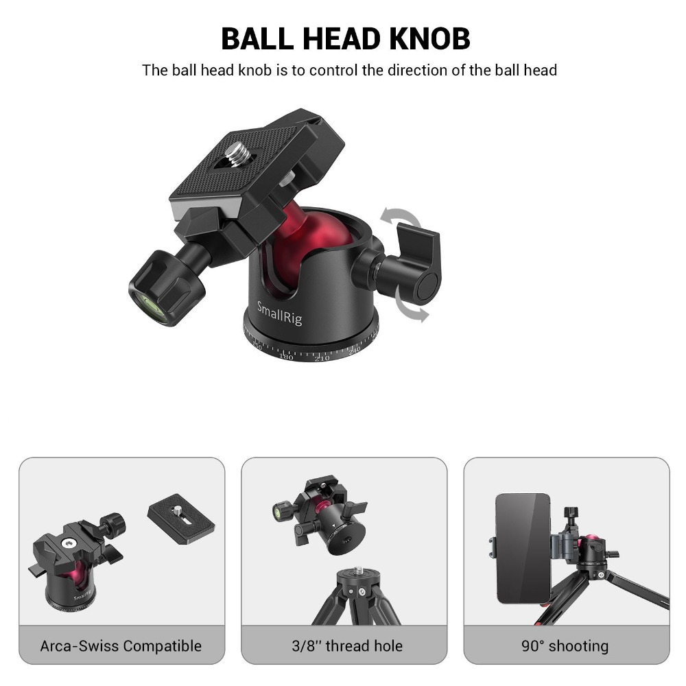 BUT2664 Phone SMALLRIG Mini Tripod for Camera 360/° Ball Head and 1//4 and 3//8 Screws Portable for Compact Cameras DSLRs Updated Desktop Tabletop Tripod with Arca-Type Compatible QR Plate Gopro