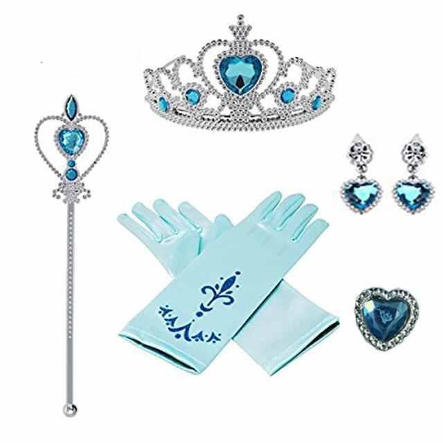 Baby Girl Blue Gemstone Earrings Necklace Princess Crown Gloves Jewelry Set UK