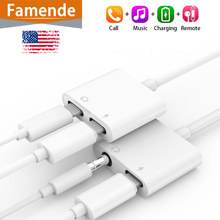2 in 1 Headphone Adapter For Iphone Adapter For Lightning To 3.5 mm Jack Headphone Splitter 7 8 12 Charger Audio Aux Adaptador