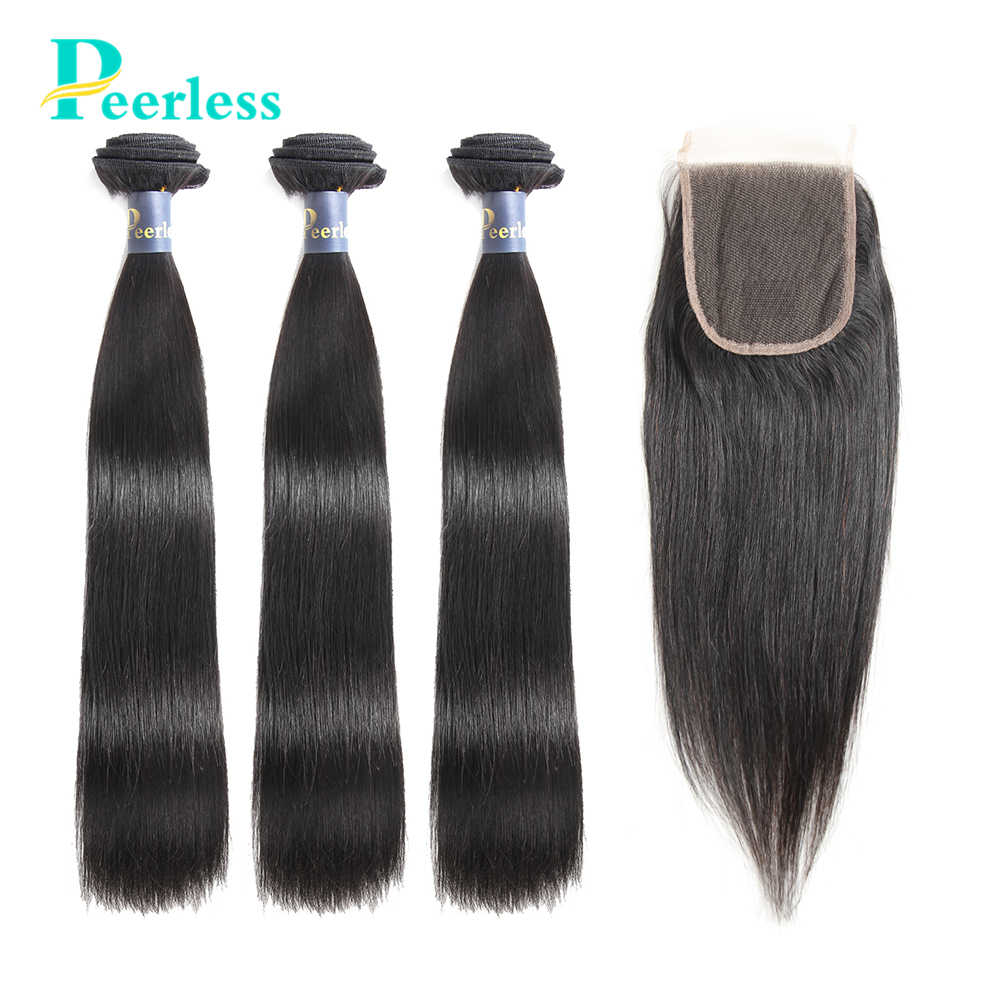PEERLESS Virgin Hair Peruvian Straight 3 Bundles with Closure 4*4 Swiss Lace 100% Unprocessed Raw Human Hair Extensions