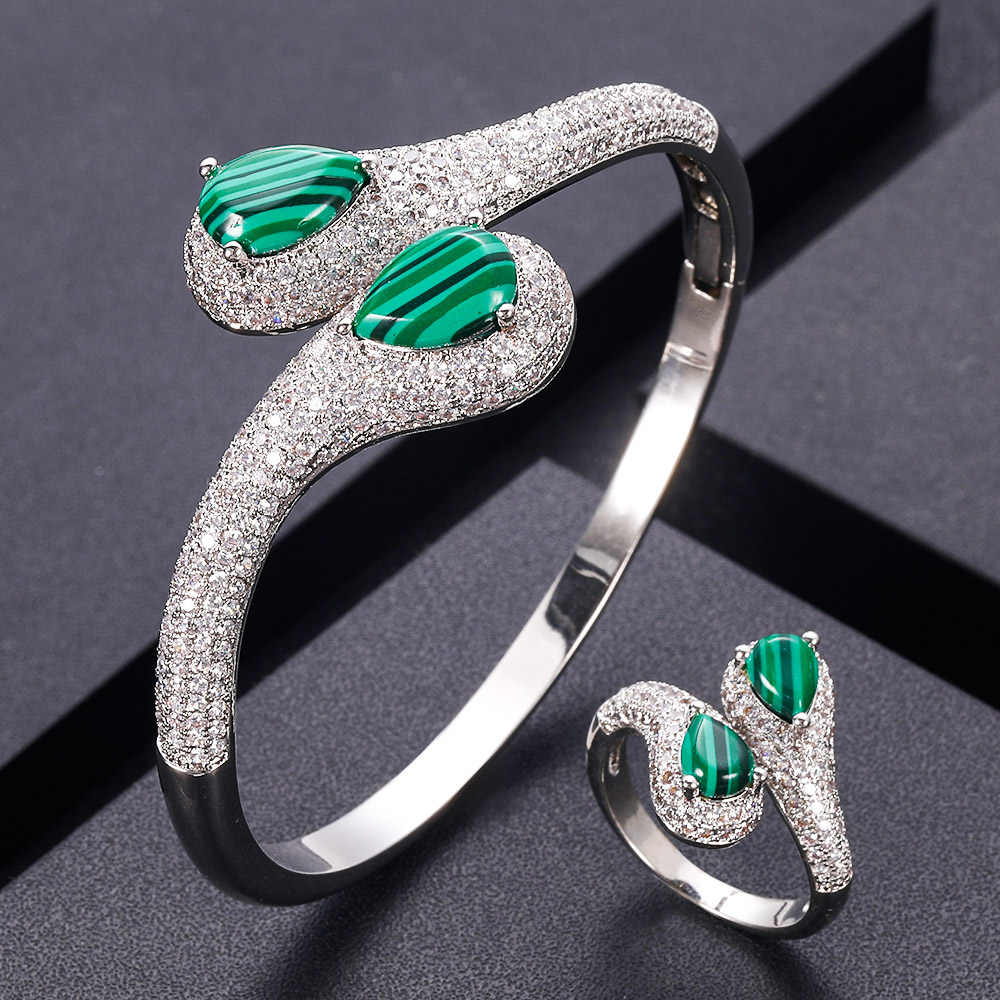 AccKing יוקרה ייחודי אפריקאי צמיד טבעת סט נשים חתונה מעוקב זירקון קריסטל CZ דובאי כלה תכשיטי S