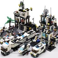 Kazi시 경찰서 헬리콥터 보트 트럭 기술 자동차 빌딩 블록 미니 벽돌 인형 Lepinblock Toys For Children Boys