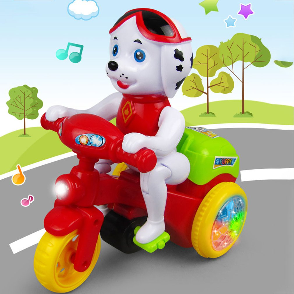 Baby Doll Dog Toys Model Doll 360 Degree Stunt Rotating Tricycle Music Lighting Electronic Toys With Sound Children Gift